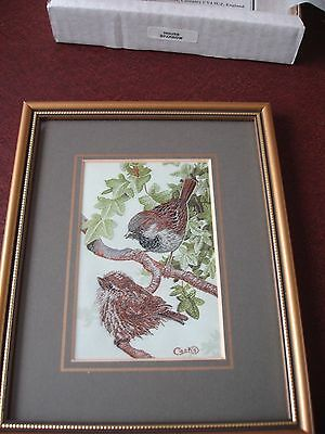 Cash's woven silk picture. Framed. House Sparrows. In Box.