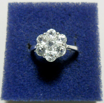 925 St Silver ring, 7 White Topaz, size 'M' US 6