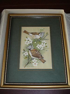 Cash's woven silk picture. Framed. Crested Tits. With Original Box..