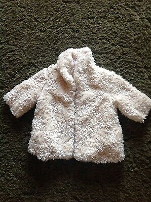 Monsoon baby girls cream faux fur coat age 0-3 months