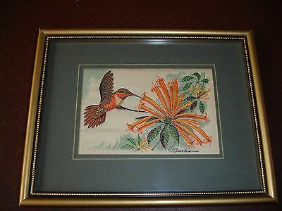 Cash's woven Silk picture in frame. Rufous Humming Bird.