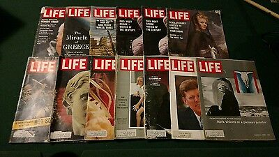 huge lot of 13 vintage Life magazines back issues 1960's Kennedy JFK o'keeffe