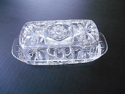 American Pressed Glass Butter Dish With Lid