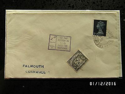 GB STAMPS FDC - 5d  STAMP & 2d POSTAGE DUE STAMP- CORNWAL - USED - 99p START