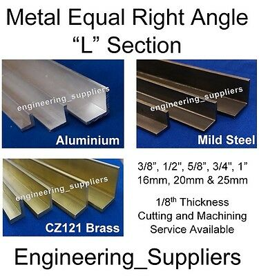 """Aluminium Brass & Steel Equal """"L"""" Right Angle 1/2, 5/8, 3/4 & 1"""" Various Length"""