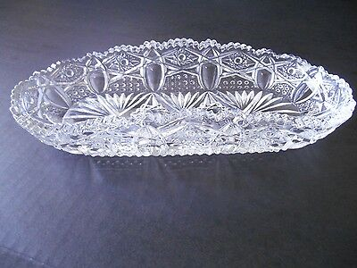 Vintage American Brilliant Cut Crystal Celery Dish Sawtooth Edge