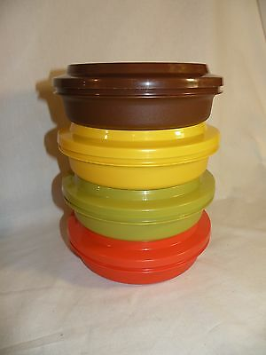 TUPPERWARE 4 Vintage Harvest Colors Seal n Serve Bowls With Matching Plates Lids