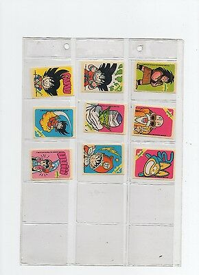 Sonric's Bola Dragon  Bubble Gum Stickers  French Issue 1989