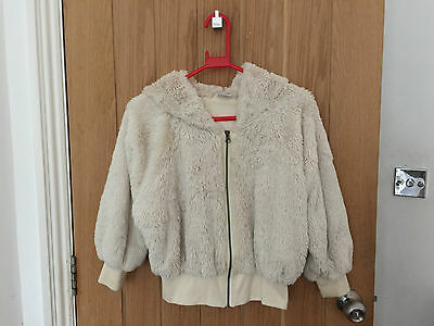 Next Lined Cream Hoodie, Jacket - Fluffy, Cosy  Age 10 Years  Height 140 cm