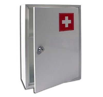 First Aid Cabinet Wall Mounted Medicine Box Medical White Kit With Shelf Locking