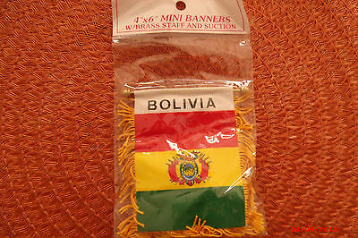 BOLIVIA MINI BANNER FLAG Bandera with BRASS STAFF & SUCTION CUP