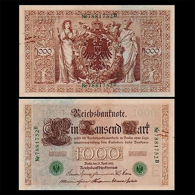 1910 Germany - 1000 Mark  = Catalog $100 = Hard-to-find Green Serial Number Rare