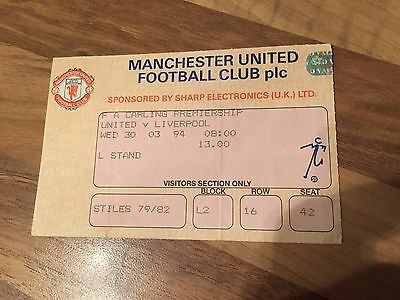 Ticket Stub - Manchester United v Liverpool 30th March 1994