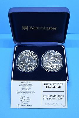 """WESTMINSTER MINT 2 x £5 COINS """"BATTLE OF TRAFALGAR"""" CASED AND COA"""