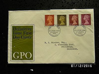 GB STAMPS FDC - DEFINITIVES 1/2d, 1d, 2d & 6d - 5 FEB 1968 - USED - 49p START