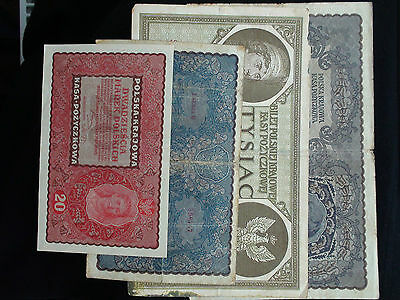 Rare Original Xf Paper Many 1919 Year Polsky  1000+100+20+100  = Paper Many 4 Pc