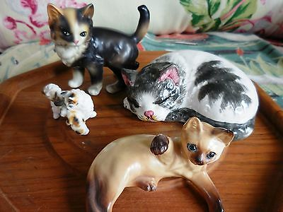 Lot of ( 4) VINTAGE 1950s CAT kitten FIGURINES LEFTON ITALY JAPAN siamese *CUTE*