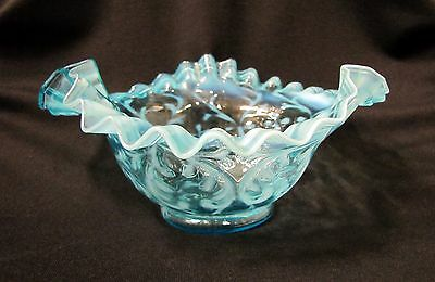Victorian Antique OPALESCENT BLUE Ruffled Small Bowl NORTHWOOD SPANISH LACE