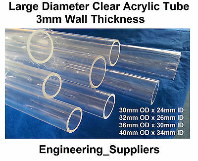 Acrylic Tube Round Clear 30 to 40mm DIA, 3mm wall thickness, 150 to 600mm long