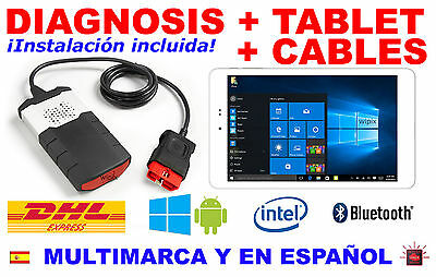 Diagnosis Bluetooth + Tablet Profesional + Kit Cables Obd Ecu Vci Obd2 Escaner