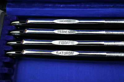 4 x Shave ready 'Silver Ring' vintage straight razor all 6/8, and 7-day box,