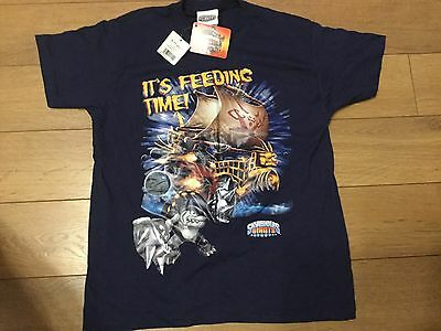 Boys Skylanders Giants T-Shirt Top Navy Blue Size Age 9-11 Years Terrafin Shark