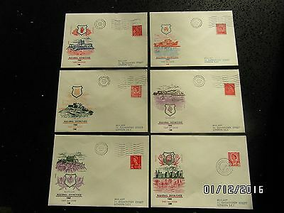 GB STAMPS FDC - SET OF 6 DEFINITIVES 4d - 26 FEB 1969 - USED - 49p START