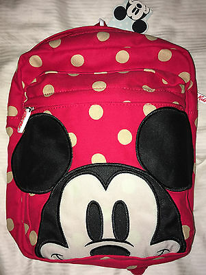 Disney Cath Kidston Mickey Mouse Backpack Rucksack Red Spot Kids 639668 New
