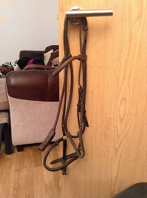 Cob Size Brown English Leather Rolled Bridle With Drop Noseband
