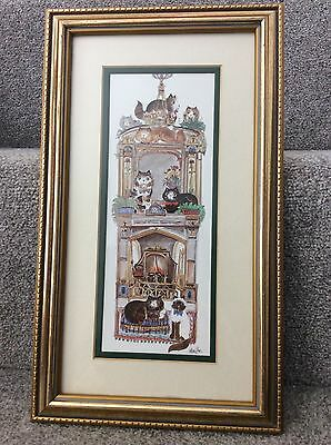 """Diane Elson Signed Cat Picture """"fireplace"""" Handmade - Charming"""