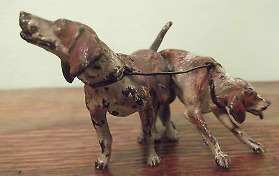 Antique Cold painted bronze hunting hounds