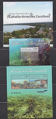 Costa Rica minisheet and s/s Caribbean Reef National Parks 2015, MNH, + bulletin