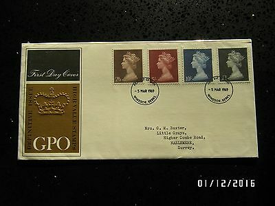 GB STAMPS FDC - DEFINITIVES 2/6, 5/, 10/ & £1 - 5 MAR 1969 - USED - 49p START