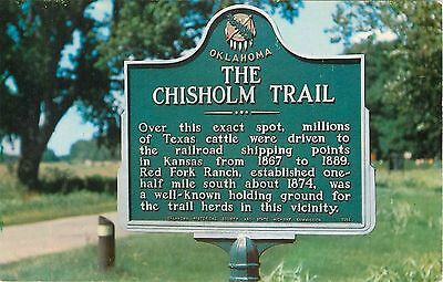 Dover Oklahoma The Chisolm Trail Sign  Postcard unposted