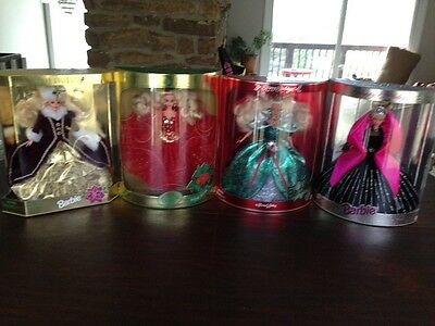 Lot of 4 Holiday Barbies 1993, 1995, 1996, 1998 NRFB