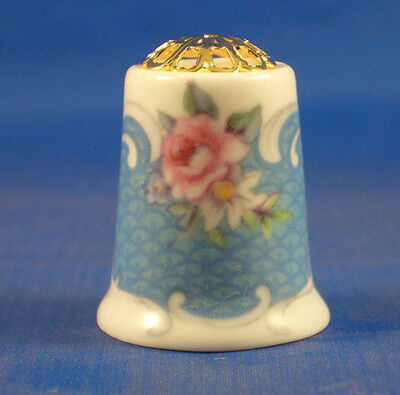 Fine Porcelain China Thimble - Pink Rose On  Blue Filigree Top