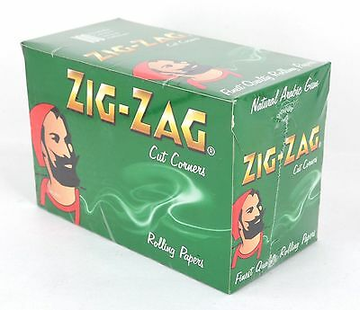 Zig Zag Rolling Rizla Papers Green Box Of 100 Booklets - Cut Corners