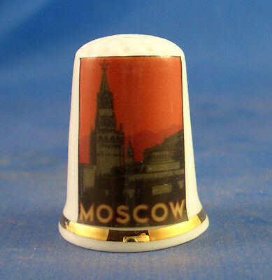 Fine Porcelain China Thimble - Travel Poster Series - Moscow -- Free Gift Box