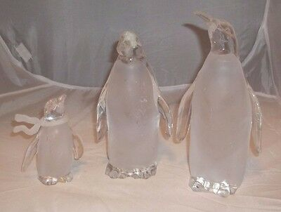 Acrylic Set Of 3 Clear/Frosted Penguin Figurine Tea Lights Papa Mama Baby