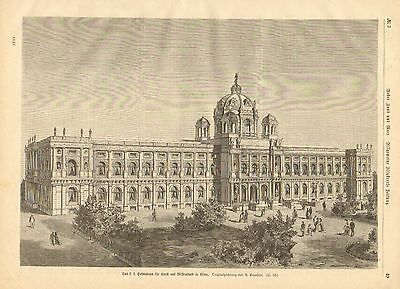 Vienna, Museum, Architecture, Buildings, Vintage 1875 German Antique Art Print
