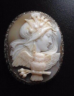X-tra Fine Antique Shell Cameo Depicting Nyx, Goddess of the Night 14k Gold