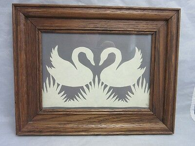 Vtg hand crafted paper cut of a pair of Swans Framed, matted. Signed