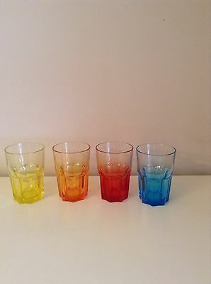 Set Of Four Coloured Glass Tumblers (new)