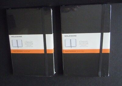 Moleskine Classic Collection Hard Cover Ruled Notebooks - TWO New
