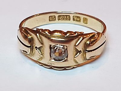 STUNNING CONDITION ANTIQUE 15ct GOLD VICTORIAN 1881 DIAMOND SOLOTAIRE RING