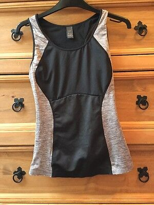Black And Grey Sports/fitness Racer Back Vest Size 12 M&S Small On Size