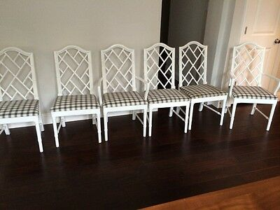 set 6 faux bamboo white dining chairs cane chinoiserie