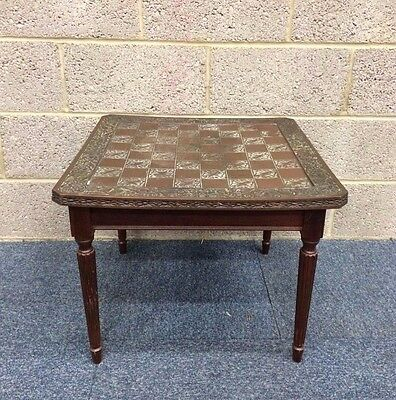 Vintage Coffee Table With A Metal Chess Board Top