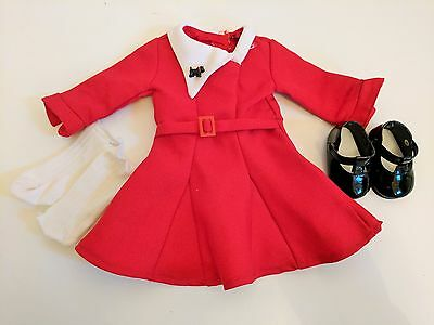 American Girl Doll Dress American Girl Clothes Kit Kittredge Holiday Red Dress