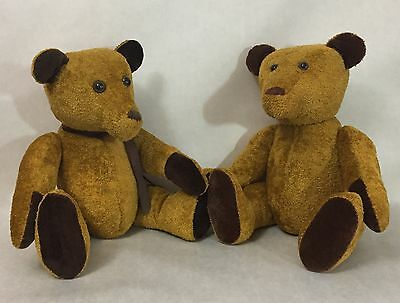Two handmade gold hunch back Teddy Bears unmarked